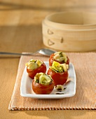 Tomatoes stuffed with vegetables, cooked in bamboo steamer