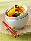 Fried bamboo shoots with peppers and shiitake mushrooms