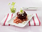 Beetroot tower with apple and sheep's cheese