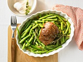 Lamb steak on French beans