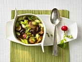 Shiitake soup with radishes and spring onions