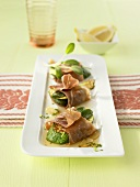 Three courgette slices, saltimbocca style