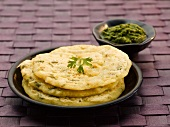 Three rice pancakes with herb paste (India)
