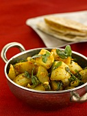 Aloo methi (Curried potatoes with fenugreek, India)