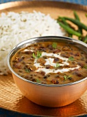 Creamy black bean soup with rice (India)