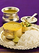 Varan bhat with rice (Yellow lentil soup, India)