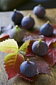 Seven fresh figs on vine leaves