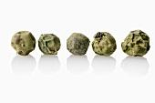 Five green peppercorns