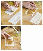 Filling filo pastry with fig, honey and nut filling