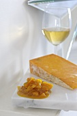 Apricot and orange chutney with Cheddar cheese and wine