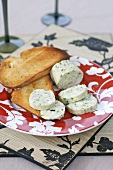 Roquefort butter with slices of toasted white bread