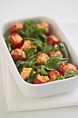 Piquillo peppers stuffed with paprika & feta, with rocket