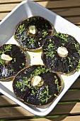 Portobello mushrooms seasoned with olive oil, thyme & garlic