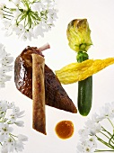 Pigeon breast with courgette and flowers