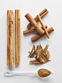 Cinnamon bark, cinnamon sticks and ground cinnamon