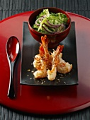 Fried prawns in sesame crust
