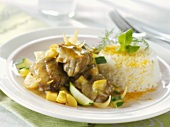 Lamb curry with vegetables and rice