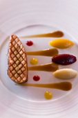 Fried goose liver with three vegetable purees