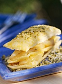 Millefeuille with pear and pistachios