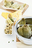 Steamed artichokes with pumpkin dip