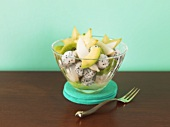 Exotic fruit salad: avocado, pitahaya, lychee, kiwi fruit