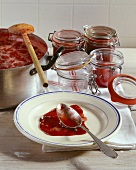Making strawberry jam: testing for setting point