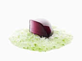 Molecular cuisine: blueberry jelly with vervain foam