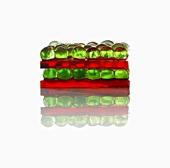 Molecular cuisine: cherry lasagne with mint spheres