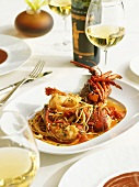Spiny lobster with tomatoes and spaghetti