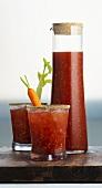 Caesar cocktail in carafe and glasses