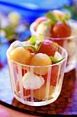 Melon and mozzarella balls in glasses