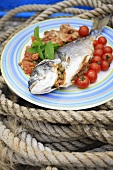 Stuffed bass with tomatoes and capers on a rope