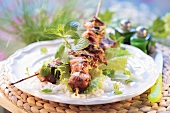 Shashlik on rice with mint (Middle East)
