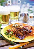 Grilled bacon rashers with beer