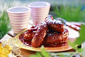 Grilled sausages with chilli sauce