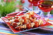 Grilled turkey and tomato kebabs