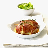 Bacon-wrapped veal roulade stuffed with mozzarella & thyme