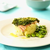 Salmon trout with herb crust on crushed potatoes