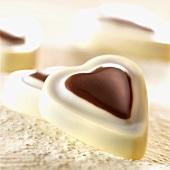 Heart-shaped white chocolates