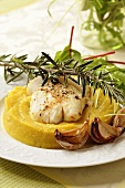 Fried cod with rosemary on parsnip puree