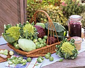 Still life with various brassicas in a basket