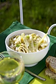 Tagliatelle with crabmeat and fennel