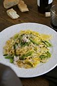 Fettuccine with Thai asparagus and crab sauce