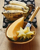 Bananas, a piece of melon and slices of carambola