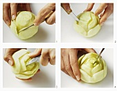 Carving a flower out of a kohlrabi