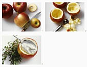 Apfel aushöhlen, mit Frischkäse füllen: Vorspeisen-Garnitur