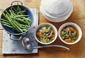 Beef and vegetable soup with green beans