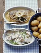 Bratfisch im Weinsud und Hering Hausfrauenart mit Kartoffeln