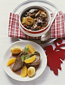 Wild boar ragout, venison escalopes in rose hip & orange sauce