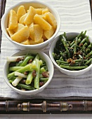 Teltow turnips, beans with bacon and sautéed spring onions
